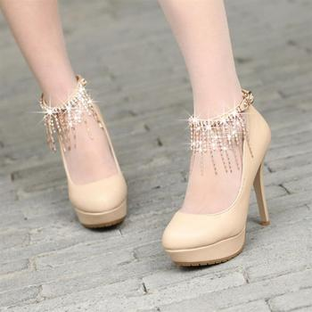 2013 women's spring shoes rhinestone crystal chain thin heels ultra high heels single shoes sexy princess shoes