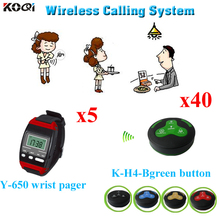 Wireless Restaurant Call System Restaurant Equipment Including Smart 5pcs Wrist Watch Y-650 With 40pcs Call Button K-H4(China (Mainland))