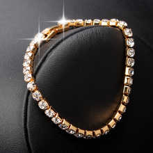 1pc Xmas Gift Fashion Jewelry Gold plated Personalized Rhinestone Crystal Beaded Chain Link Bracelets For Women SL273(China (Mainland))