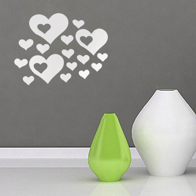 3D Mirror Heart Pattern Wall Stickers Home Decor Living Room Modern Acrylic Pattern DIY Art Decals Decorative Mural Children 3d(China (Mainland))