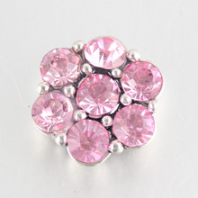 Buy  (12 pieces/lot) Wholesale Snap Jewelry Girls Fashion Pink Flower Interchangeable 20mm Crystal Flower Snap Button for $9.89 in AliExpress store