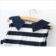 2015 New Fashion High Quality Korean Casual Slim Striped Dress Summer Mini Denim Collar Sleeveless Dress Plus Size(China (Mainland))