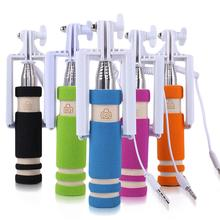 3.5mm New mini portable extendable selfie monopod stick no bluetooth no battery, new mini monopod camera cable take pole