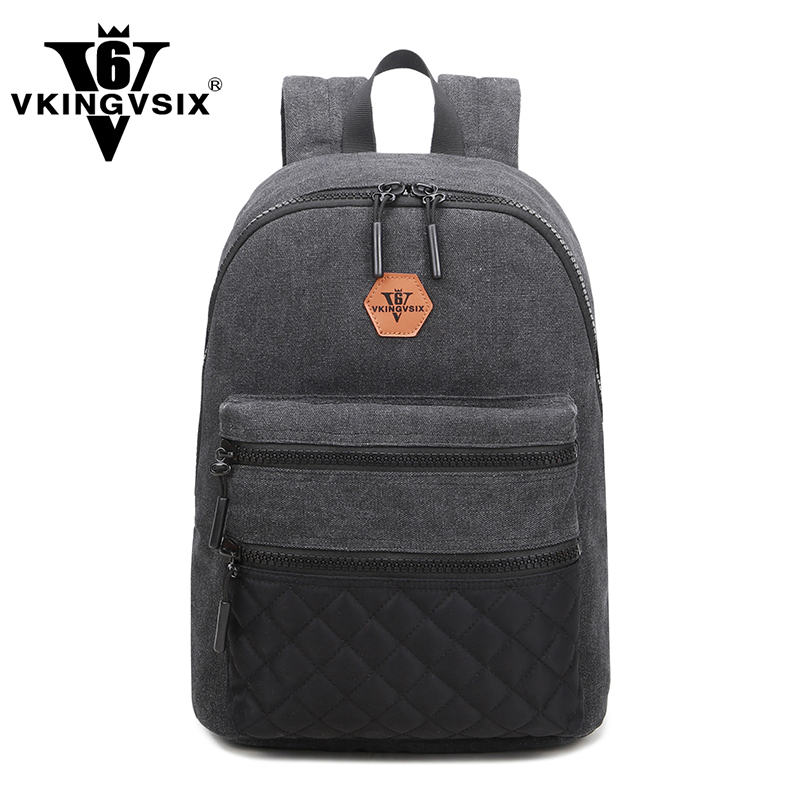 VKINGVSIX 14-16inch Canvas Backpacks boy girls high school bags for teenagers mini laptop backpack computer men mochila Rucksack(China (Mainland))