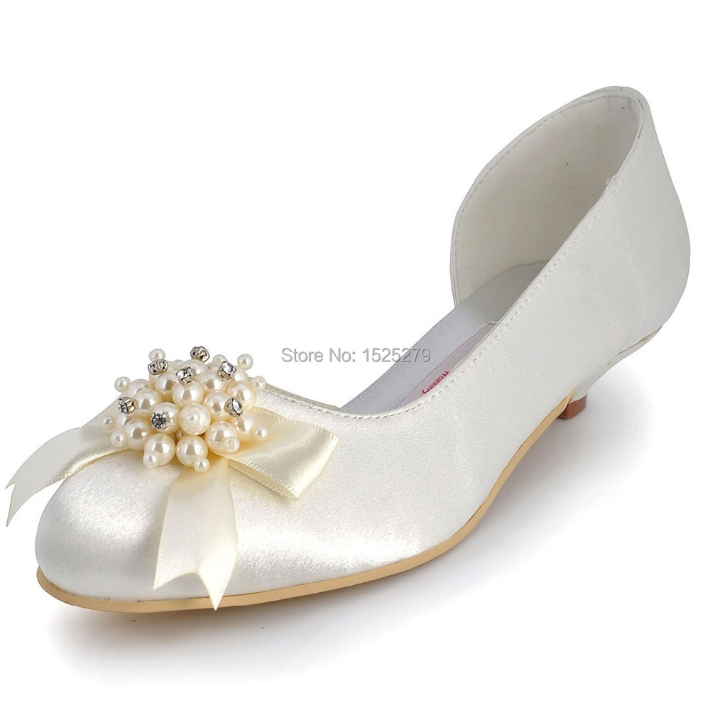 Custom Made More Colors 100114 Women Ivory Prom Party Pumps Low Heel Wedding Pearls Rhinestones Satin Bridal Shoes<br><br>Aliexpress