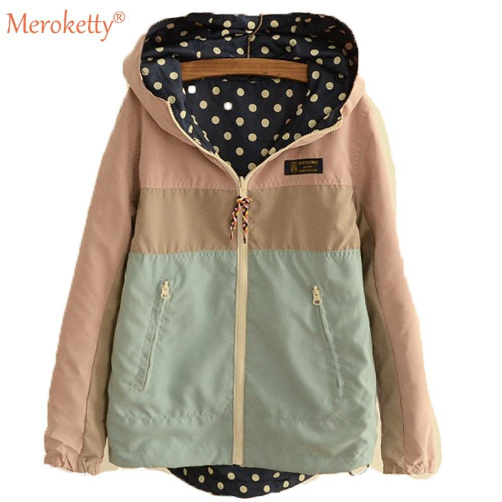 Женщины куртки широкий высокой талией молния карманы хлопок закрытый воротник свободного покроя длинный рукав женское JKT100