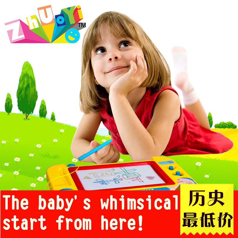 Hot Sale Children Baby Education Tool Magnetic Drawing Board Sketch Pad Doodle Writing Craft Art Toys for Children Yellow Color(China (Mainland))
