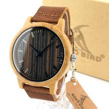 Unique Vogue Mens Quartz Watches Wooden Outdoor Sport Watches Clock With Leather Strap Relojes Hombre 2015