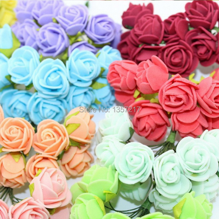 Sale!!! 2.5cm Head Multicolor PE Rose Foam Mini Flower Bouquet Solid Color/Scrapbooking Artificial Rose Flowers(144pcs/lot)(China (Mainland))
