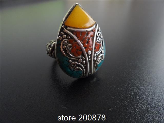 R219 Nepal Tibetan White Metal Copper Antiqued inlaid Fake Ambr Heart big Ring,superwide Man finger Rings(China (Mainland))
