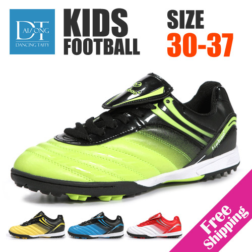 Size30-37 New 2014 children football shoes kids soccer shoes boys girls soccer ball kids athletic shoes training turf shoes(China (Mainland))