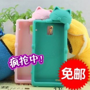 Cat dust plug for HUAWEI u9200 p1 phone case mobile phone case p1 silica gel protective case(China (Mainland))