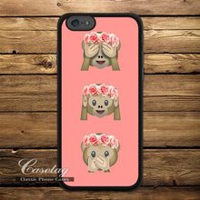 Floral Monkey Emoji Ultra Case For Apple iPhone 6 6 Plus 5 5s 5C 4 4s Also For iPod 5 Lovely Funny High Quality Cover Wholesale(China (Mainland))