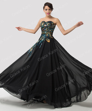 Grace Karin Strapless Peacock Sleeveless Lace Up Back Elegant Formal Print Evening dress 2015 New Long Prom Party Gown WE6168(China (Mainland))