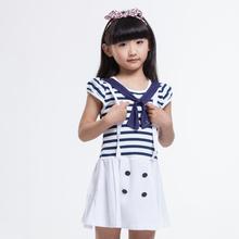 girls dress navy style striped dark blue fashion kids clothing size 3-12 years kids summer dressess princess dress