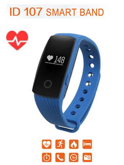 ID107 Bluetooth Smart Watch Heart Rate Monitor Pedometer Wristband Fitness Tracker Remote Camera Smart Bracelet for Android iOS(China (Mainland))
