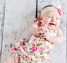 2014 Newest Pink Floral Lace Waistband Baby Rompers Halter Jumpsuit Infant Girl Clothing Free Shipping(China (Mainland))