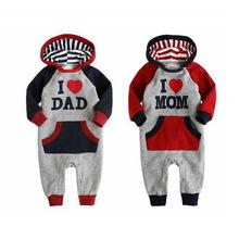 High Quality Baby Winter Clothes I Love Dad & Mom Baby Winter Rompers Hooded Baby Winter Jumpsuit For Bebe Menino and Menina (China (Mainland))
