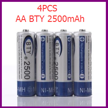 4pcs High Quality 1.2V AA 2500mAh Rechargeable Battery NiMH Ni-MH Rechargeable Recharge Battery Batteries Pack Free shipping(China (Mainland))