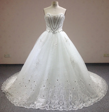 100% Same Real Photo Vestidos De Noiva V-Shaped Crystal Beaded Chapel Train Luxury Slim Lace Wedding Dresses 2016 WD0066(China (Mainland))