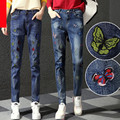 Spring summer denim harem pants woman holes denim pants embroidered leisure jeans pants for women loose
