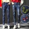 Spring summer denim harem pants woman holes denim pants embroidered leisure jeans pants for women loose