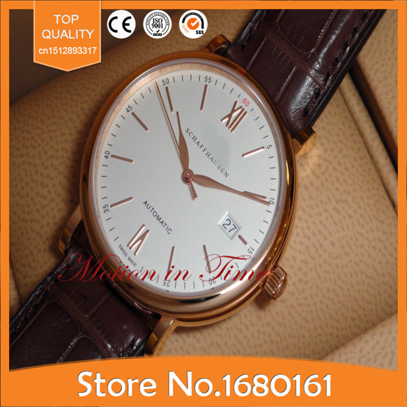New Brand Luxury Automatic Silver Dial Date Display Mechanics IW356504 - Rose Gold Top quality Automatic Men's watch(China (Mainland))