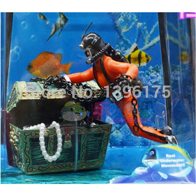 1 pc creative aquarium accessories treasure hunter diver for Aquarium scuba diver decoration
