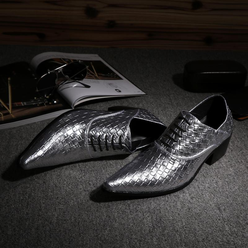 New Arrival Handmade Genuine Leather Lace Up Oxford Mens Formal Business Sliver Wedding Party Dress Shoes Plus Size US12<br><br>Aliexpress