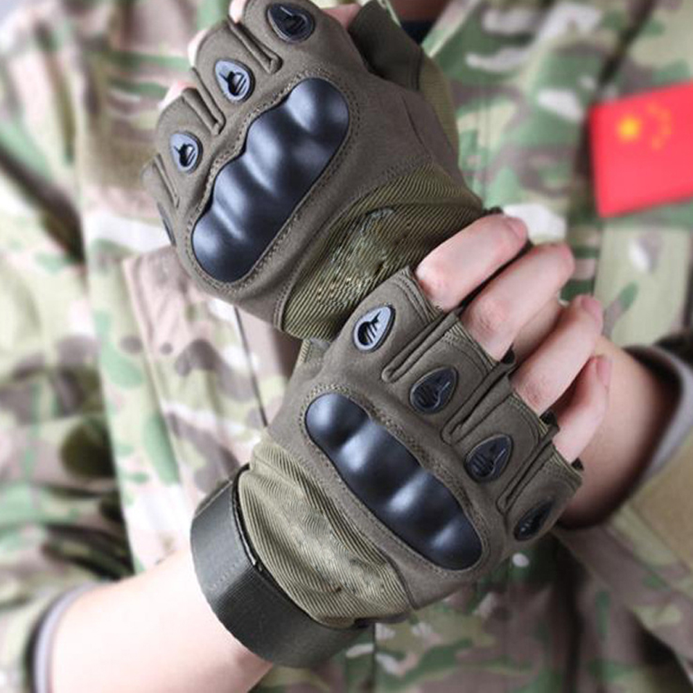 Mens military tactical gloves outdoor cover half finger army gloves antiskid gym sports microfiber bicycle sports gloves()