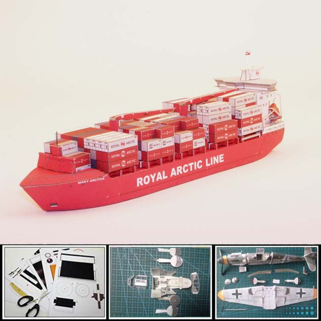 New 2016 Container ship paper model Greenlandic container carrier MARY ARCTICA 1:400 scale Length 34cm 3d puzzles toys gift(China (Mainland))
