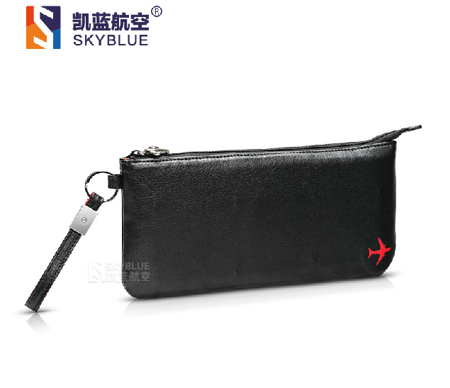 New Creative Men's Clutch Bag Black PU Leather with Cute Air Plane Card Holder Best Gift for Business Pilot Flight Crew(China (Mainland))