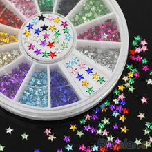 12 Colors 3D Pentagram Stickers DIY Decoration Beauty Studs Nail Art Tips Wheel 4BNT