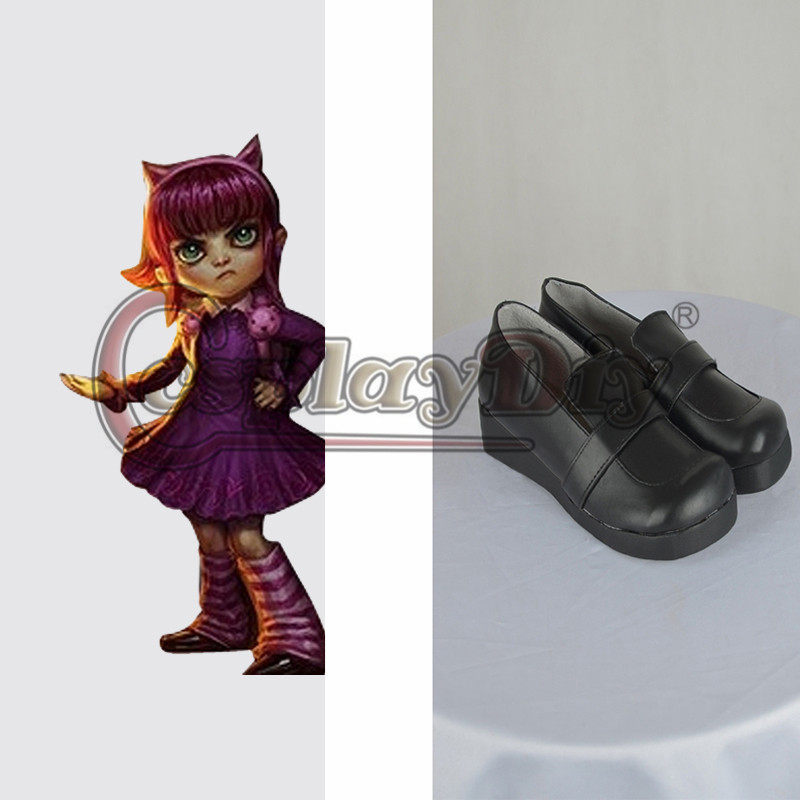 Custom Made LOL Cosplay Shoes Adult Annie Black Shoes Lolita Cosplay Shoes D0330(China (Mainland))