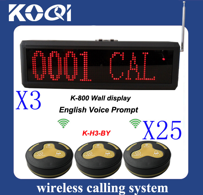 reliable quality Wireless Paging System w 3pcs K-800 receiver + 25pcs 3-press H3-BY Table Button english voice prompt(China (Mainland))