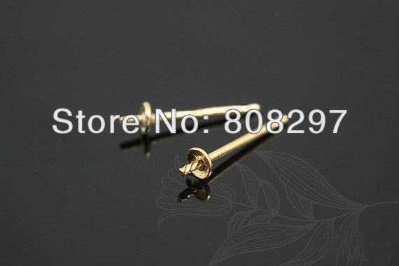 DIY Charms 4mm Gold Plating Earring Posts With Ear Studs Back Stoppers Pad Jewelry Finding 1000pcs