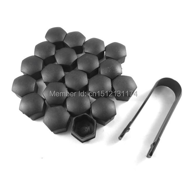 100x Black Wheel Lug Nut Center Cover Caps + Removal Tool for Audi A1 A3 A4 A5 A6 A7 A8 Q5 Q7 TT For VW Jetta Golf(China (Mainland))