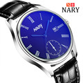 Nary Blue Light Watches Men Business Fashion Leather Wristwatch Big Dial Waterproof Calendar Watches Quartz Watch