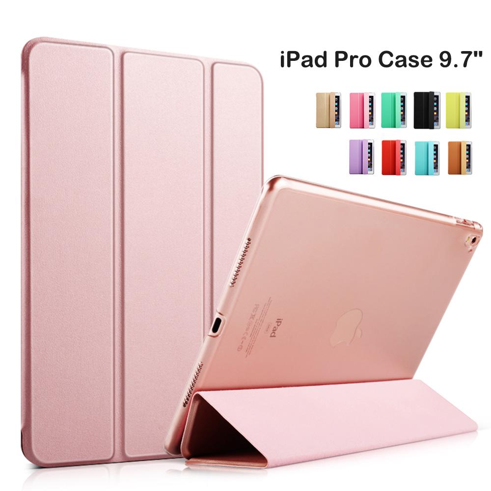 2016 Smart Cover Tablet Folding Folio Case for Apple iPad Pro 9.7 inch Auto Wake / Sleep Rose Gold(China (Mainland))