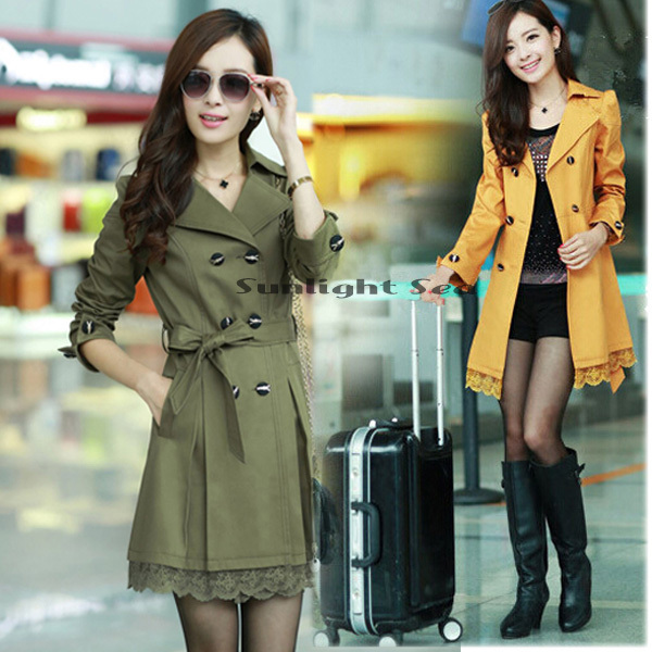 2014 New Spring Autumn Women casual dress Double-breasted Coat Long outwear Slim Lace Fit Trench Plus Size Coats - Shelly Wu's store