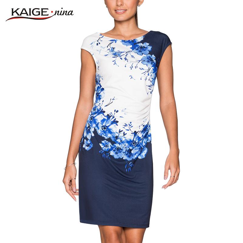 2016 Kaige Nina Summer dress Women bodycon dress plus size women clothing chic elegant sexy fashion o-neck print dresses 9026(China (Mainland))