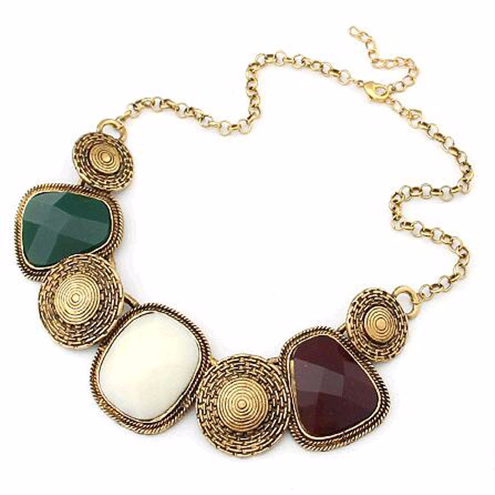 TOMTOSH European and American fashion personality temperament wild geometric squares resin exaggeration Chain Bib necklace(China (Mainland))