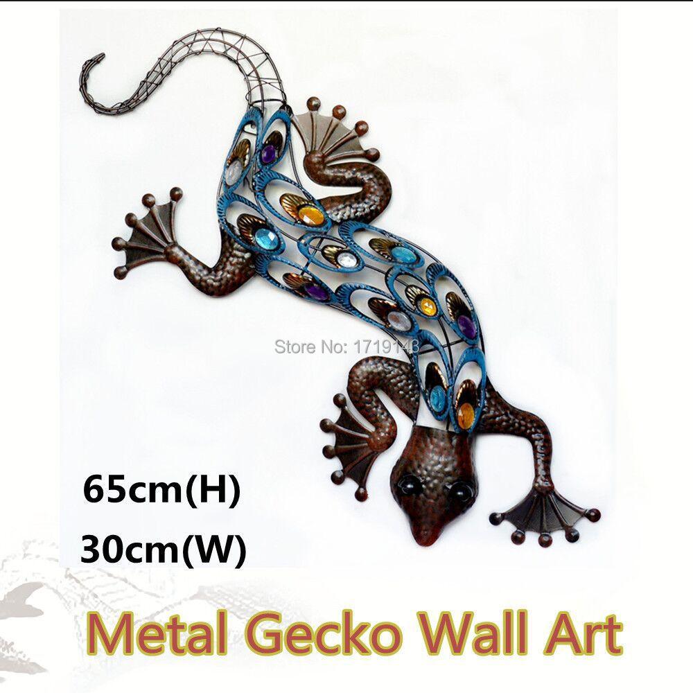 Outdoor Wall Decor Gecko : Aliexpress buy metal gecko wall art garden