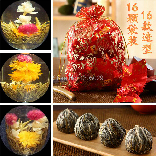 New Promotion 16 Kinds Chinese Handmade Blooming Flower Tea Jasmine Green Tea Balls For Slimming Natural