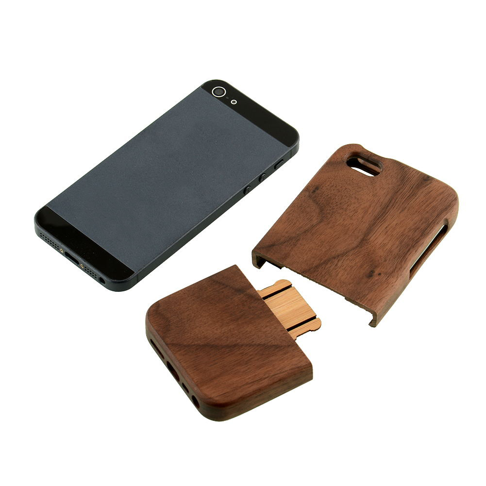 Natural Bamboo Wood Walnut Wooden Door Case Cover for iPhone 5 5s Two Part(China (Mainland))