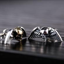 925 sterling silver men's earrings  fashion men Thai silver earrings Vintage Thai silver skull  stud earrings(China (Mainland))