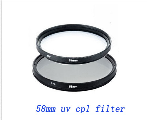 58MM Filter CPL+UV Set Kit lens protector for Canon 500d 600d Rebel T4i T3i T3 T2i T1i XT XS XSi 18-55mm Nikon Sony Camera lens(China (Mainland))