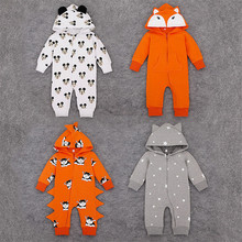 2016 New Spring and autumn Baby Romper girls and boys cotton Terry Siamese Romper kids Mickey cartoon fox Zipper Romper XL563
