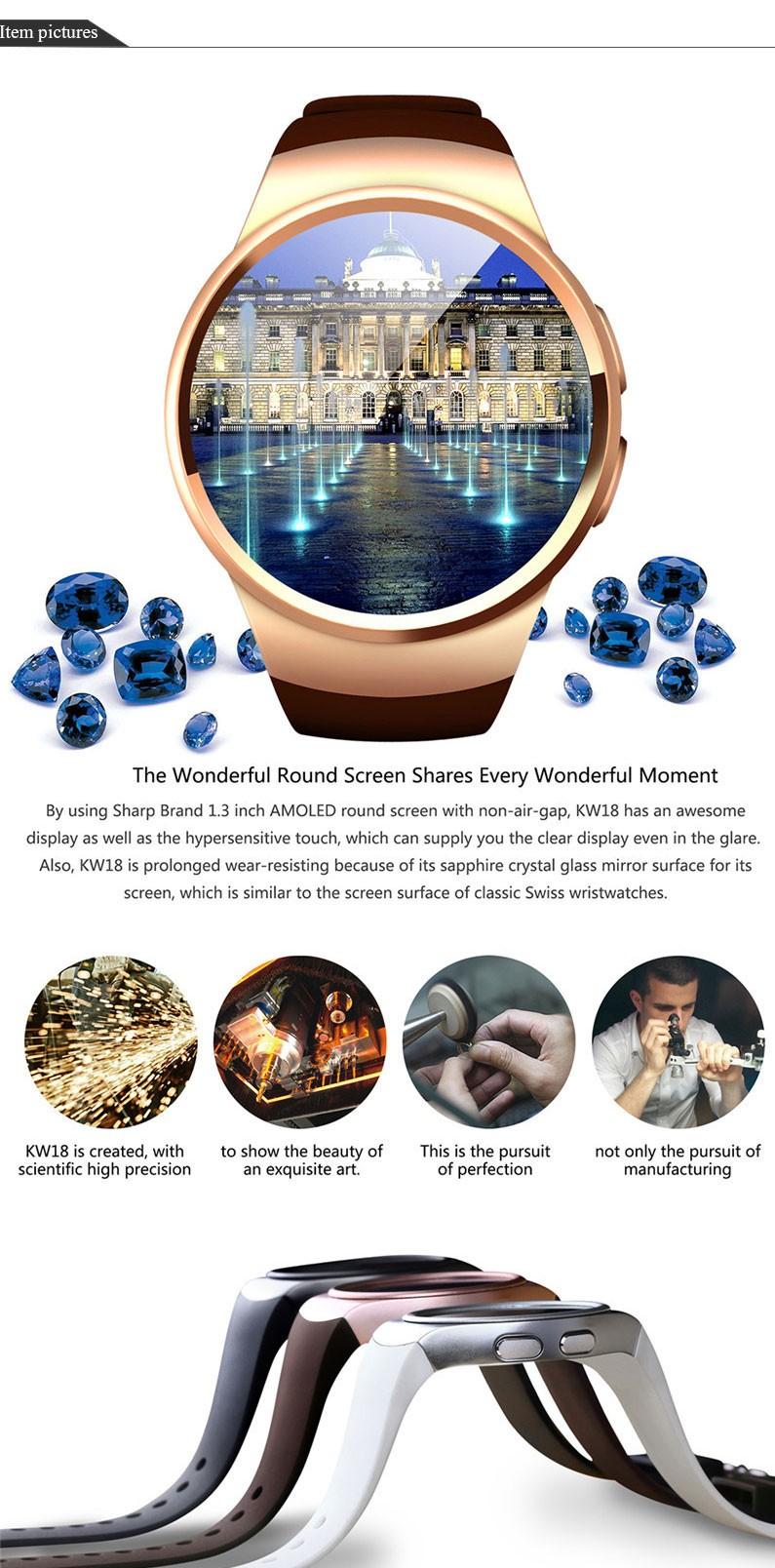 2016 Новый Продукт KW18 Смарт Часы Android/IOS Цифровой-часы Bluetooth Релох Inteligente SIM Круглый Монитор Сердечного ритма часы Часы