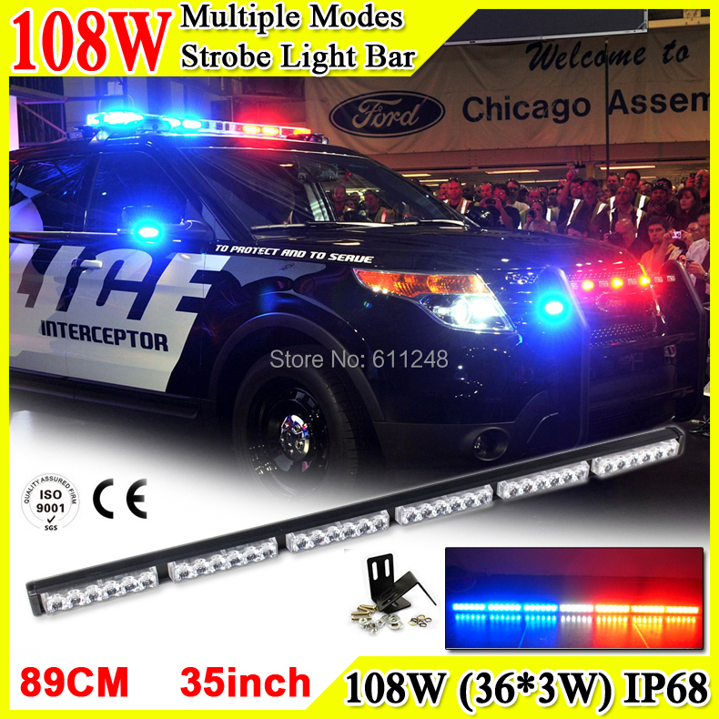 108W Super Bright Led Strobe Flash Warning Light Bar 35'' Led Light Bar 4x4 Offroad Flashlight Amber Red Blue Led Police Lights(China (Mainland))